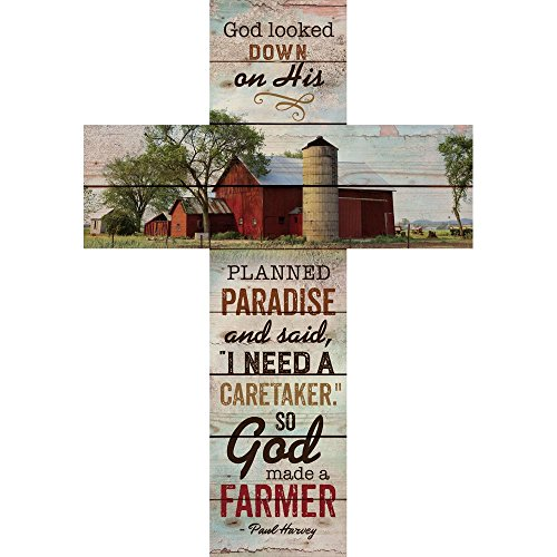 God Made a Farmer Paul Harvey Barn & Silo Scene 32 x 22 Wood Wall Art Plaque Cross