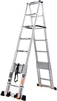 AFDK Escalera Telescópica de Aluminio con Barra Estabilizadora, Escalera Retráctil de Ingeniería para Trabajo Pesado para Ático Doméstico, Altura 2M / 2.6M / 2.9M / 3.2M,2 m / 6.5 pies: Amazon.es: Bricolaje y herramientas