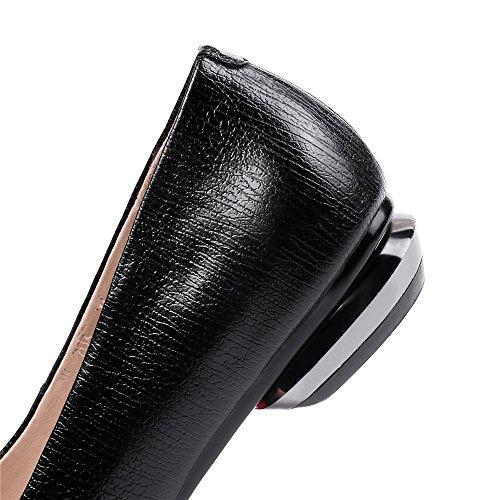 Nine Seven Cuero Moda Puntera Redonda Bailarinas Planos Cómodos con Lazo para Mujer negro