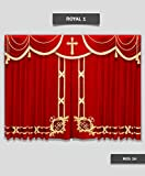 Saaria Royal-1 Stage Hall Church Curtain Backdrops 12'W x 8'H Custom Sizes Velvet Church Curtains Backdrop Stages Wall Covers