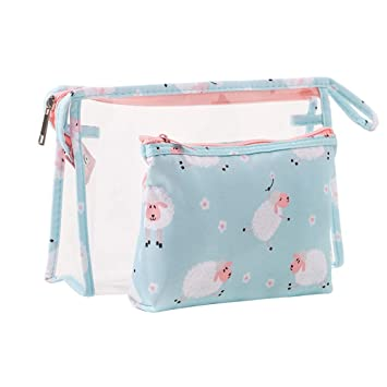 b06c8cfa42af Women  Travel Makeup Bags Small Waterproof Clear PVC Toiletry Pouch Fiphie  Fashion Multifunctional Cosmetic Organizer