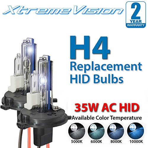 XtremeVision AC HID Xenon Replacement Bulbs - H4 / 9003 8000K - Medium Blue (1 Pair) - 2 Year Warranty