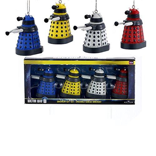 Kurt Adler Doctor Who Dalek Ornament Gift, 2.25-Inch, Set of 4 (Who Christmas Dalek Doctor Tree)