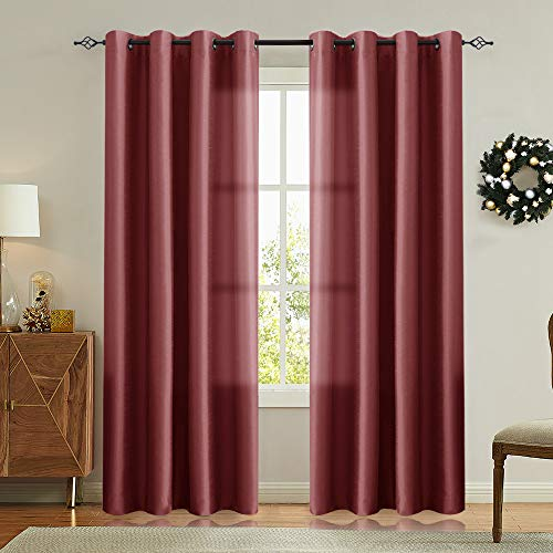 Vangao Burgundy Red Curtains 84 inches Long Faux Silk Opaque Curtain Light Filtering Living Room Satin Drapes Privacy Window Treatments Set for Bedroom, Grommet Top,2 Panels ($500 Set For Room Under Living)