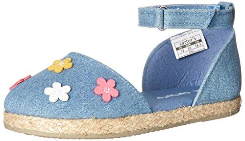 Carter's Brea Girl's Espadrille Mary Jane Flat, Blue, 9 M US Toddler