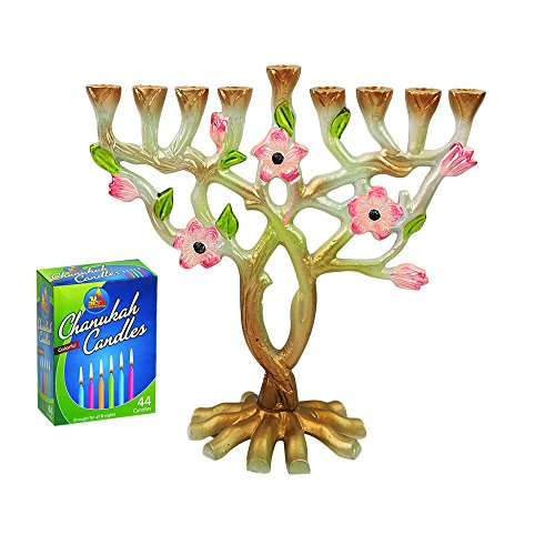 Judaica Unlimited Branch Flowers Metal Painted Hanukkah Menorah Box 44 Colored Candles to Last Through Chanukah