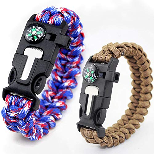 TTHU Paracord Camping Bracelet, 2 Pack Camping Kit with Flint Fire Starter, Scraper,Compass, Whistle and Parachute Cord Buckle for Hiking Camping,2Pack~D