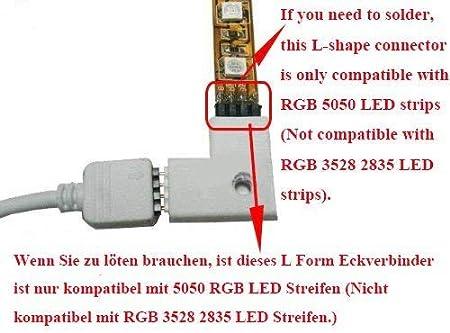 90 degrés angle DIY pour Bande LED soudure 8mm L-pièce//eckverbinder