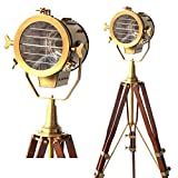 Adjustable Antique Vintage Old Century Moden Searchlight Lamp Timber Tripod Brass and Brown Tripod