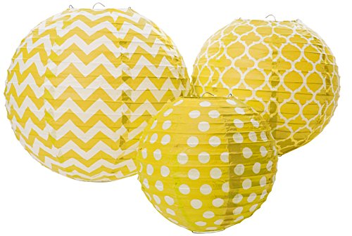 Amscan 248900.09/ACL Round Lantern Party Supplies, Assorted Size, sunshine yellow