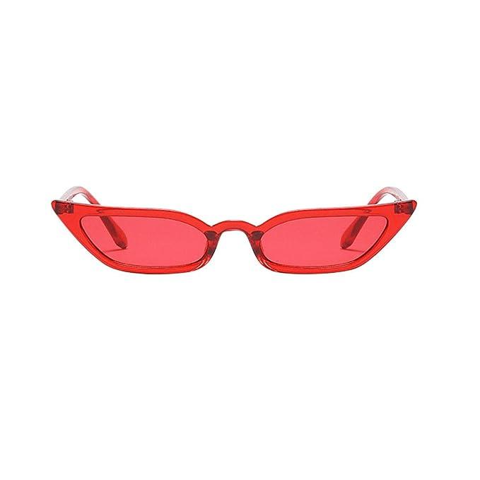 LUCA Women Skinny Cat Eye Sunglasses Colorful Lens Mini ...