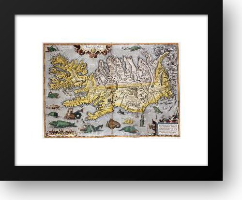 Hand Colored Map Of Iceland 18x15 Framed Art Print by Ortelius, Abraham