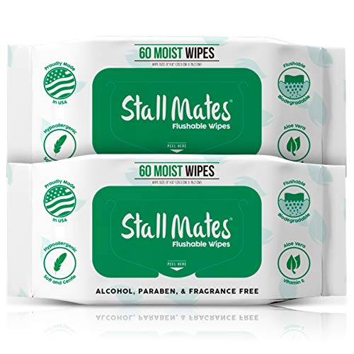 Stall Mates 60-Wipe Home Pack: Flushable and Hypoallergenic Moist Wipes Made in The USA. Unscented with Vitamin-E & Aloe, 100% Biodegradable (2 Pack) - Natural Wipes Biodegradable