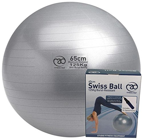 Yoga mad Workout Exercise & Fitness 125kg Burst Resistant Swiss Ball & Pump 65cm