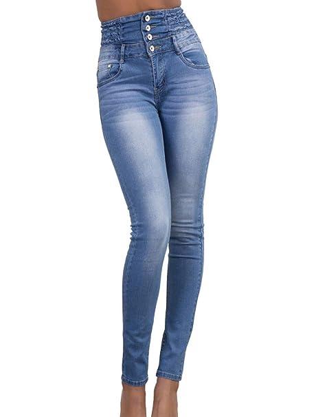 Da Donna Jeans A Vita Alta Donna Blu Jeans Stretch Denim Taglia 6