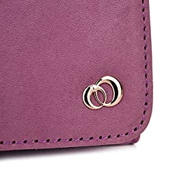 Imperial Purple Genuine Leather Women\'s Wristlet Clutch Blu Life One L120 with Credit Card Holder & NextDIA Cable Tie