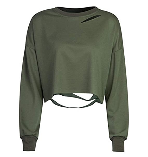 OUFour Frühling und Herbst Damen Kurz Sweatshirt Langarm
