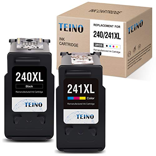 TEINO Remanufactured Ink Cartridges Replacement for Canon PG-240XL 240 XL CL-241XL 241 XL for Canon PIXMA MG3620 TS5120 MX532 MG3520 MX452 MX472 MX432 MG2120 MG3222 (Black, Tri-Color, 2 Pack) (Canon Pixma Mg3222 Ink)