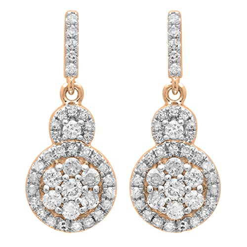 Dazzlingrock Collection 0.50 Carat (ctw) 14K Round White Diamond Ladies Cluster Style Drop Earrings 1/2 CT, Rose Gold ()