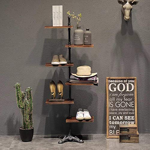 MZGH ISLAND Industrial 6-Tier Pipe Dispaly Shelves,Rustic Wood Clothing Store Shoes Bags Flower Plant Display Stand,Tool Storage Rack,Office Bookcase,Home Utility Shelf