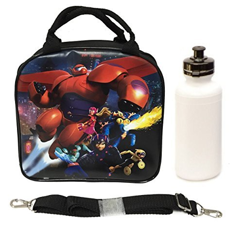 - Disney Big Hero 6 Baymax, Hero, Tomago, Fred, Wasabi, and Honey Lemon Lunch Box Bag w/ Shoulder Strap + Water Bottle - Black