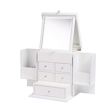 Qiansejiyichuwuhe Caja de Almacenamiento Caja de Almacenamiento de cosméticos de Madera con Espejo Almacenamiento de Escritorio