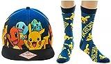 Pokemon Original Starters Blue Gradient Snapback Hat & Pikachu Crew Socks Set