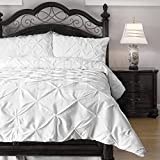 ExceptionalSheets Queen Size Comforter Set - 3 Piece Down Alternative Comforters - Decorative Pinch Pleat Pintuck Design - Wrinkle Resistant Microfiber Bed Set - White