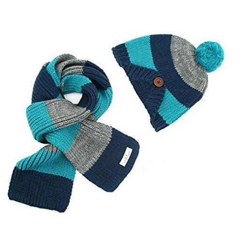 Jungen/Mädchen Winter Warme Mütze Schal Set Kinder Strickmütze Kappe Hut/Schal Set Kleinkind Wintermützen Hat Blau