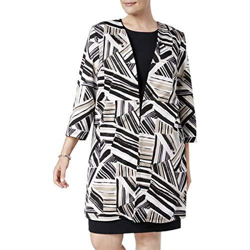 (Kasper Womens Plus Work Wear 3/4 Sleeve Long Coat Beige 16W)