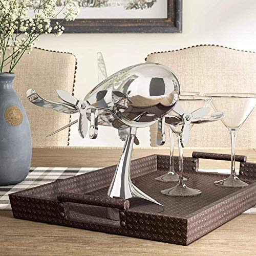 Le'raze Airplane Cocktail Shaker, Premium 24 Ounce Bar Shaker With Stand, Airplane Art Bar Drink Shaker, Aviation Bartender Mixer, Ideal For Flying Bartender, Pilot Gift, Chrome Airplane Decor by Le'raze (Image #5)