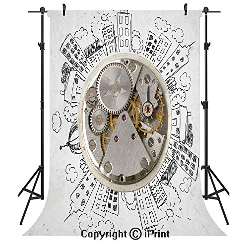 Clock Decor Photography Backdrops,an Alarm Clock with Clouds and Buildings Around It Pattern Decorative Design,Birthday Party Seamless Photo Studio Booth Background Banner 6x9ft,Light - Banner Design 9 Cloud Photo