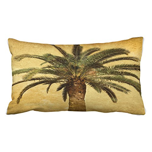 Palm Bolster Pillow - Accrocn Pillowcases Vintage Shabby Chic Retro Palm Tree Tropical Watercolor Hipster Cushion Decorative Pillowcase Polyester 20 x 36 Inch Rectangl King Size Pillow Covers Hidden Zipper