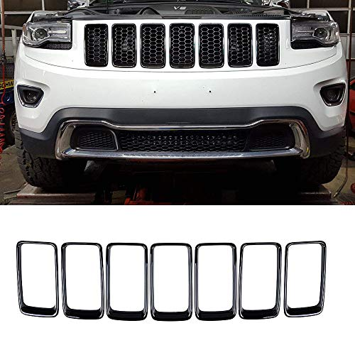Partol Front Grille Inserts Grill Cover Trim Kit Compatible with Jeep Grand Cherokee 2014 2015 2016 (Black, - Grille Grand Cherokee