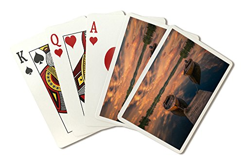Boats Docked on Lake at Sunset (Playing Card Deck - 52 Card Poker Size with Jokers) by Lantern Press