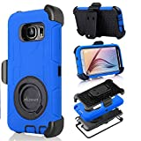 S6 Case, Galaxy S6 Case, Aitech Ultra Shock&drop-proof Amy-grade Protective Hard Defender Case and Three Layer Hard Shell Cover Holster with 360 Degree Rotating Ring Bracket Protective Case for Samsung Galaxy S6-- TPU Rubber & Silicone Case with Stand & Clip for Samsung Galaxy S6 (Blue+Black)