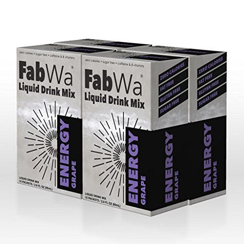 FabWa Liquid Energy Drink Mix - Grape - 4 Box Multi Pack