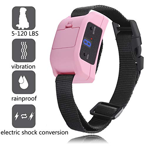 GUANGZIYI Anti Bark Collar for Small, Medium, Large Dogs - Bark Shock Collar Device to Stop,Stop Dogs Barking Fast/Vibration/Control Barking/Adjustable Collar [2019 Newest Automatic ] (Pink)