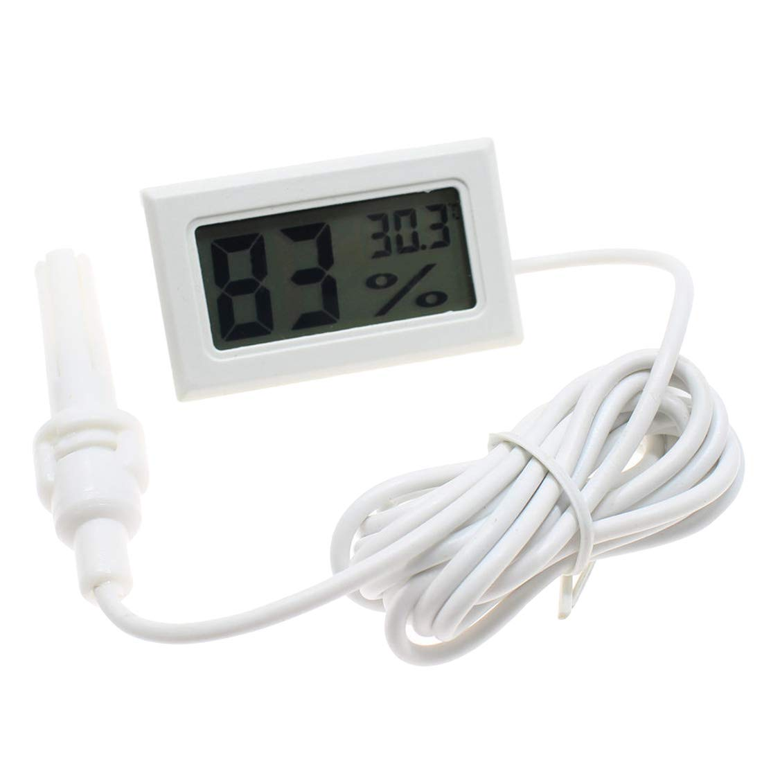Sonda LCD Digital Mini Term/ómetro Integrado Higr/ómetro Medidor de Humedad Medidor Sonda para Reptil
