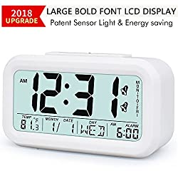 Digital LCD Alarm Clock Battery Operated with Snooze, Optional Weekday Alarm and 12/24 Hr Mode, Intelligent Sensor Light & Temperature Large Display Desktop Clock for Bedroom/Office/Kitchen/Kids,White