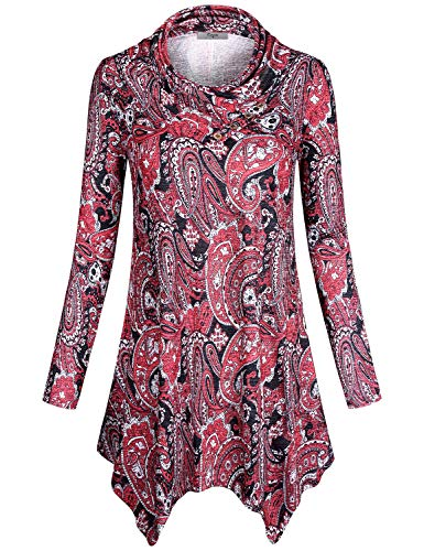 Dress Jersey Print Paisley (Cestyle Asymmetrical Tops for Women,Juniors Long Sleeve Cowl Neck Shirt Paisley Blouse Flower Print Comfy Travel Clothes Form Fitting Lightweight Pullover Petite Slim Fit Tunic Top Red Flower Small)
