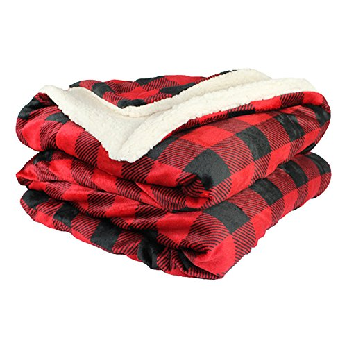 et - Micro Mink Lambswool Sherpa (Red/Black Plaid) ()