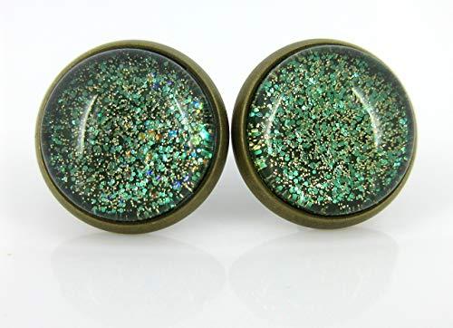 Antiqued Gold-Tone Army Green Glitter Glass Stud Earrings 1/2