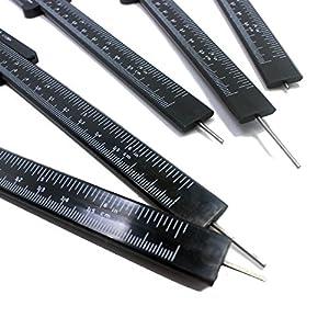 T&B 6Inch 150mm Mini Caliper Double Scale Plastic Vernier Caliper for Jewelry Sliding Gauge Ruler Measuring Tool 5PCS