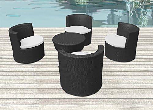 CG Juego Mesa sillas sillones jardín de ratán Totem Negro: Amazon ...
