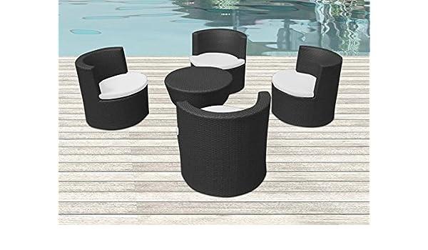 CG Juego Mesa sillas sillones jardín de ratán Totem Negro: Amazon.es: Jardín