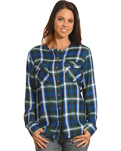 New Direction Sport Women's Frayed Edge Blue Plaid Shirt Blue X-Large