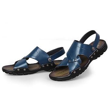 SHANGXIAN Verano desgaste dos tipos de los hombres de Flip Flops Casual sandalias de cuero , gray , 38