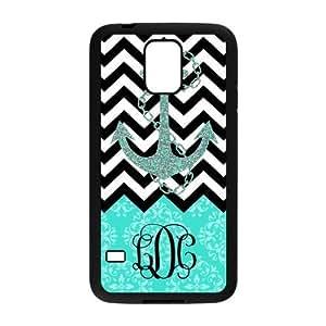 Black White Chevron & Anchor & Turquoise Vintage European Pattern Black Initials Personalize Custom Samsung Galaxy S5 Best Rubber & Plastic Case