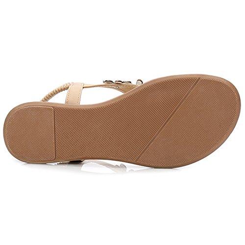 Sandales Tongs Hope Sandales Chaussures Plat Chaussures Strap Elastique Thong Clip T Toe Femmes Apricot Post Plage tYRwq1gR